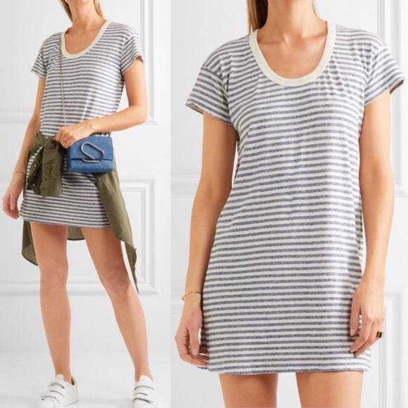 c685c3ecbba9f Current/Elliott Dresses | Current Elliott Blue White Striped Tshirt ...